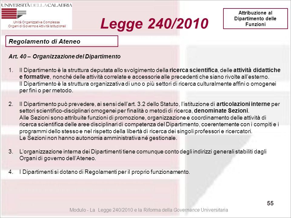 55 Unità Organizzativa Complessa Organi di Governo e Attività Istituzionali Legge 240/2010 55 Modulo - La Legge 240/2010 e la Riforma della Governance