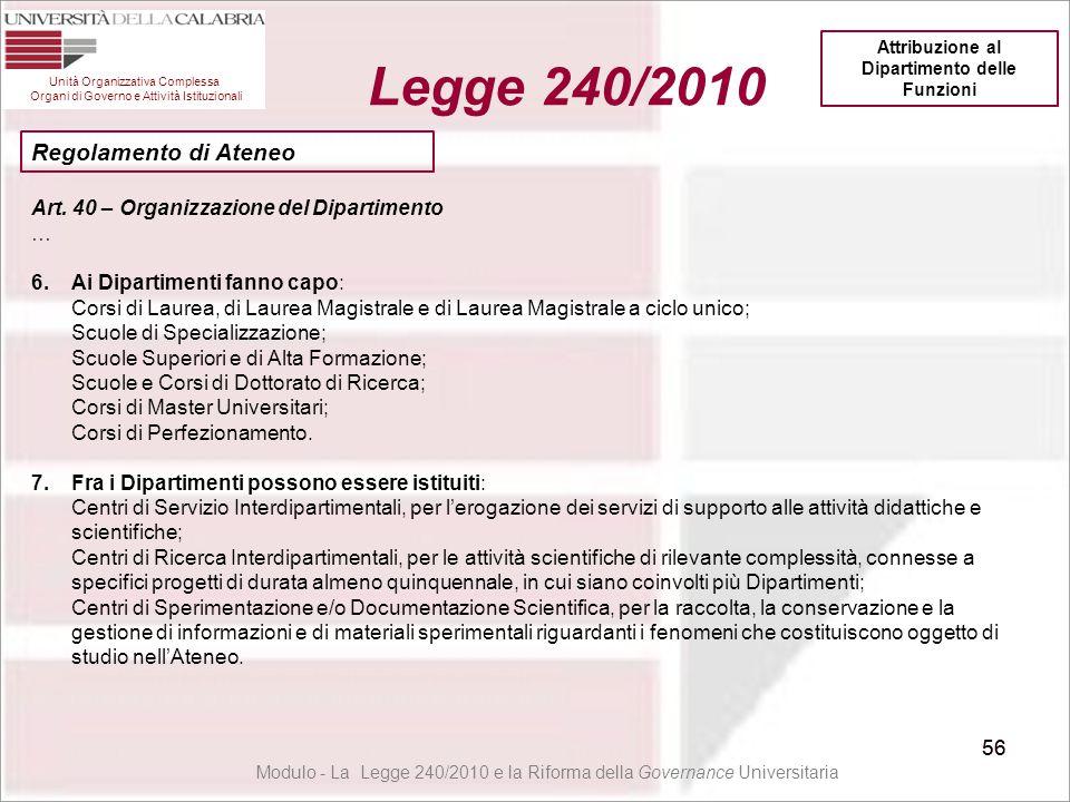56 Unità Organizzativa Complessa Organi di Governo e Attività Istituzionali Legge 240/2010 56 Modulo - La Legge 240/2010 e la Riforma della Governance
