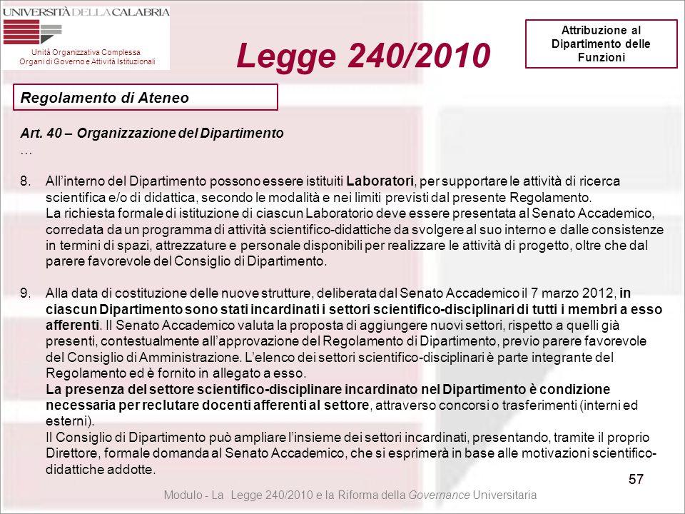 57 Unità Organizzativa Complessa Organi di Governo e Attività Istituzionali Legge 240/2010 57 Modulo - La Legge 240/2010 e la Riforma della Governance