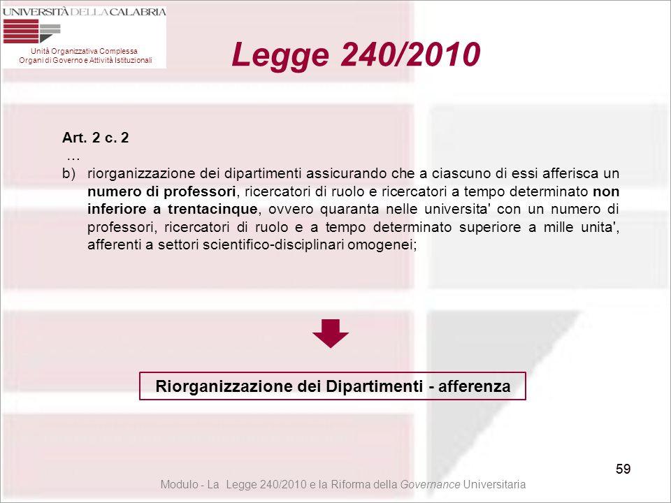 59 Unità Organizzativa Complessa Organi di Governo e Attività Istituzionali Legge 240/2010 59 Art. 2 c. 2 … b)riorganizzazione dei dipartimenti assicu