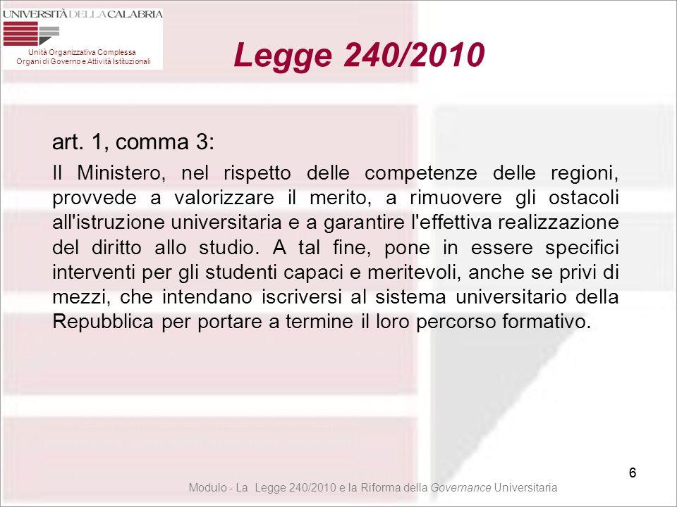 57 Unità Organizzativa Complessa Organi di Governo e Attività Istituzionali Legge 240/2010 57 Modulo - La Legge 240/2010 e la Riforma della Governance Universitaria Attribuzione al Dipartimento delle Funzioni Art.