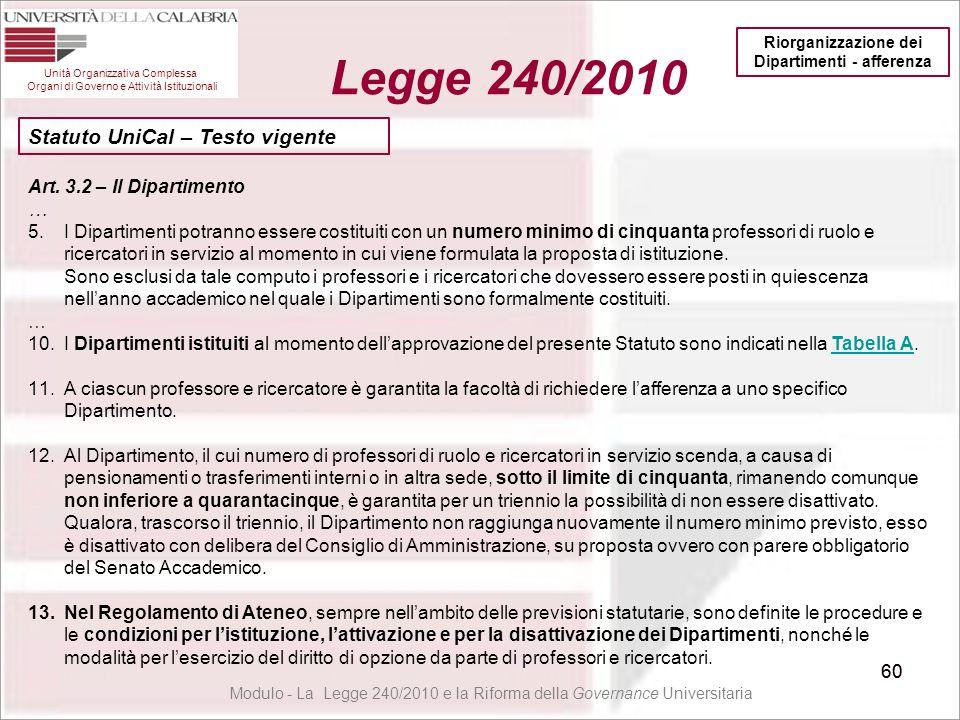 60 Unità Organizzativa Complessa Organi di Governo e Attività Istituzionali Legge 240/2010 60 Art. 3.2 – Il Dipartimento … 5.I Dipartimenti potranno e