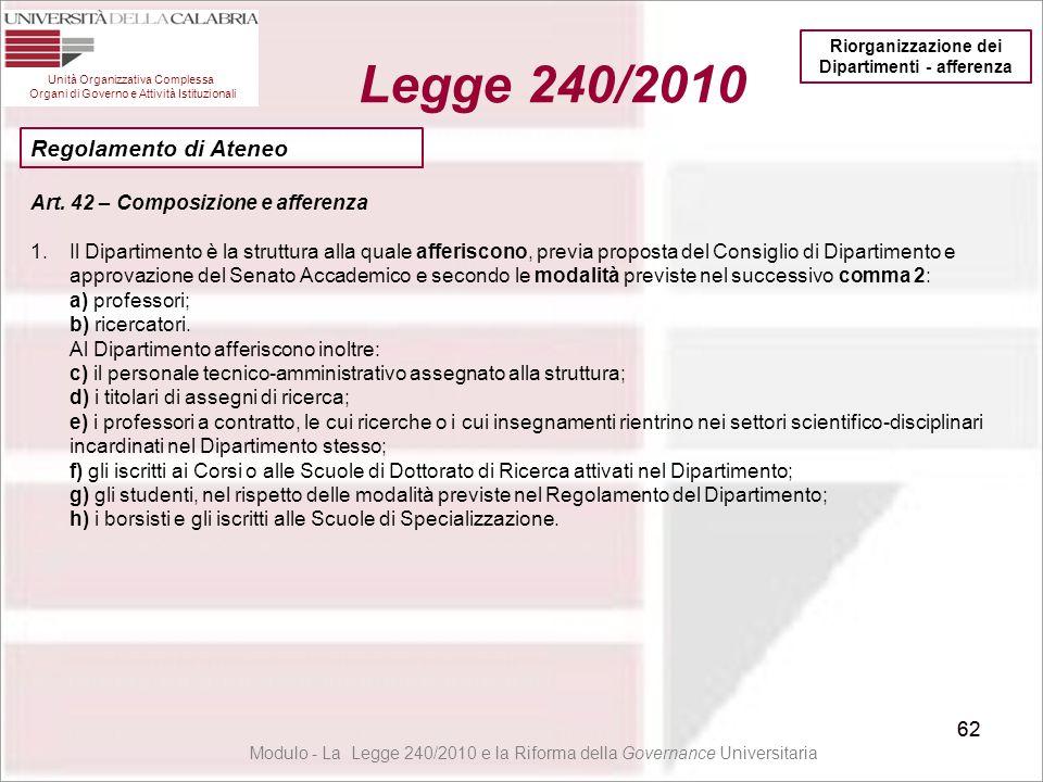 62 Unità Organizzativa Complessa Organi di Governo e Attività Istituzionali Legge 240/2010 62 Modulo - La Legge 240/2010 e la Riforma della Governance