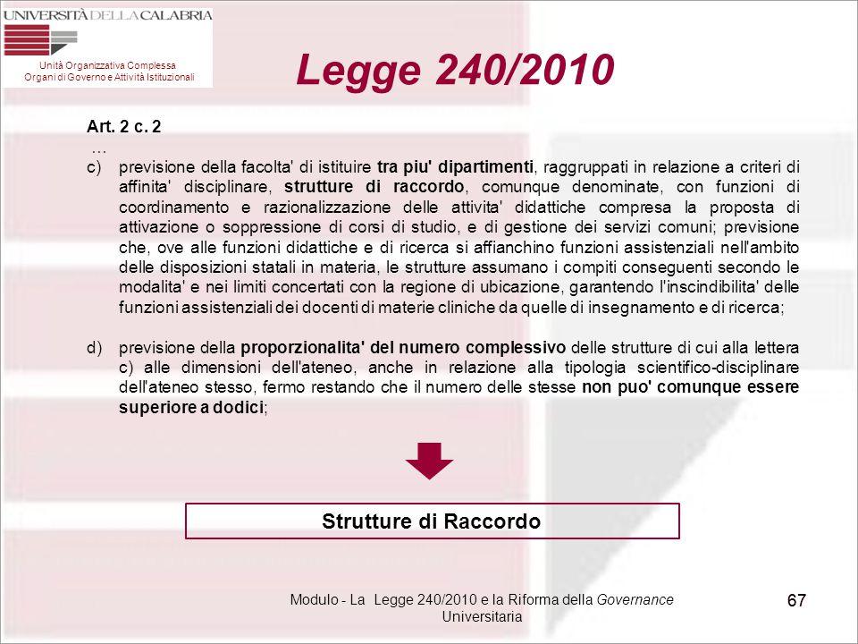 Modulo - La Legge 240/2010 e la Riforma della Governance Universitaria 67 Unità Organizzativa Complessa Organi di Governo e Attività Istituzionali Leg