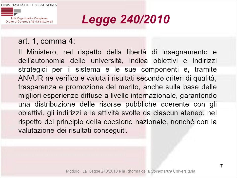 38 Modulo - La Legge 240/2010 e la Riforma della Governance Universitaria 38 Unità Organizzativa Complessa Organi di Governo e Attività Istituzionali Legge 240/2010 38 art.