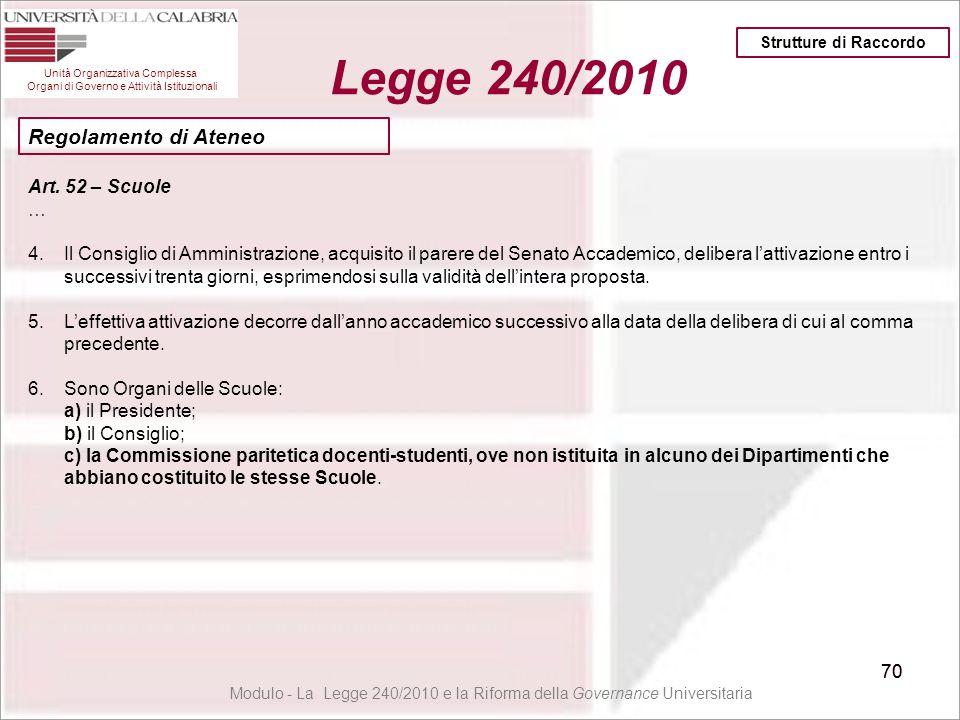 70 Unità Organizzativa Complessa Organi di Governo e Attività Istituzionali Legge 240/2010 70 Modulo - La Legge 240/2010 e la Riforma della Governance