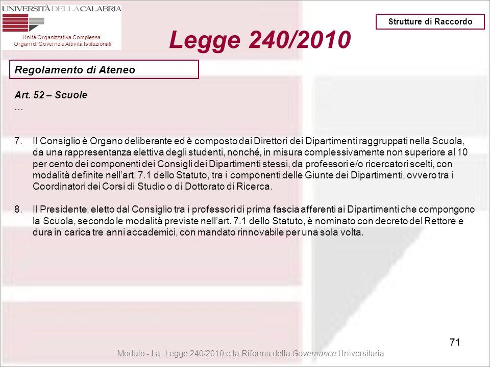 71 Unità Organizzativa Complessa Organi di Governo e Attività Istituzionali Legge 240/2010 71 Modulo - La Legge 240/2010 e la Riforma della Governance