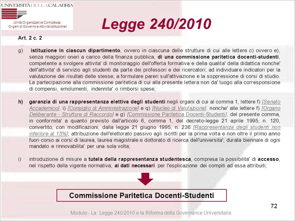 72 Unità Organizzativa Complessa Organi di Governo e Attività Istituzionali Legge 240/2010 72 Art. 2 c. 2 … g) istituzione in ciascun dipartimento, ov