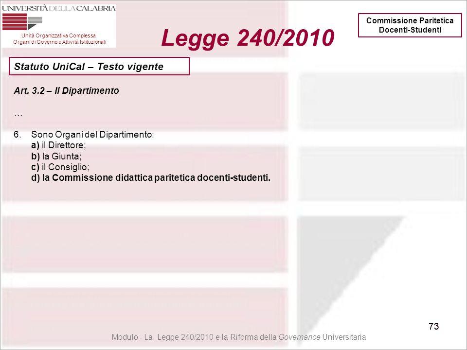73 Unità Organizzativa Complessa Organi di Governo e Attività Istituzionali Legge 240/2010 73 Art. 3.2 – Il Dipartimento … 6.Sono Organi del Dipartime