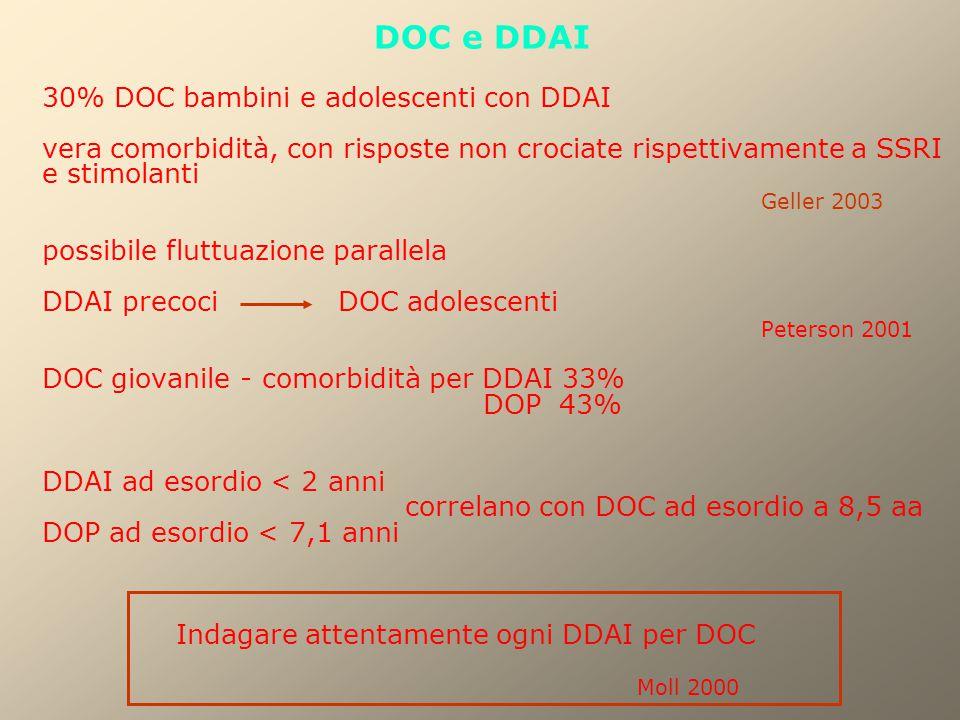 DOC e DDAI 30% DOC bambini e adolescenti con DDAI vera comorbidità, con risposte non crociate rispettivamente a SSRI e stimolanti Geller 2003 possibil