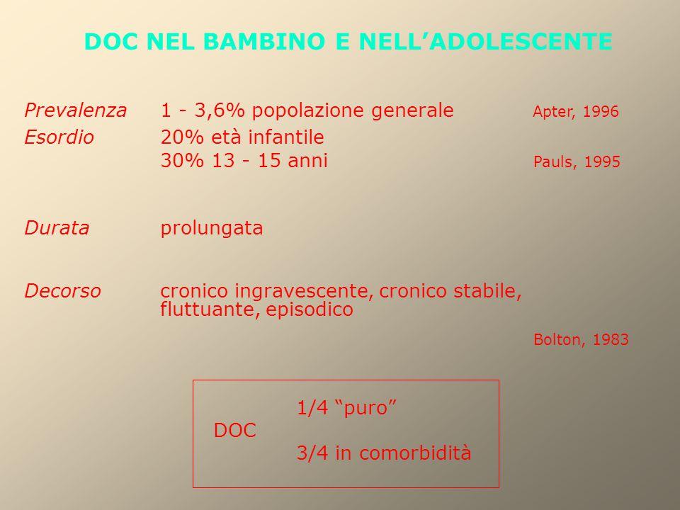 DOC NEL BAMBINO E NELL'ADOLESCENTE Prevalenza1 - 3,6% popolazione generale Apter, 1996 Esordio20% età infantile 30% 13 - 15 anni Pauls, 1995 Duratapro