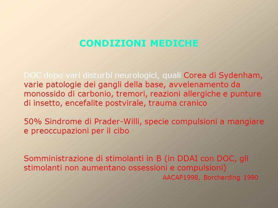 CONDIZIONI MEDICHE DOC dopo vari disturbi neurologici, quali Corea di Sydenham, varie patologie dei gangli della base, avvelenamento da monossido di c