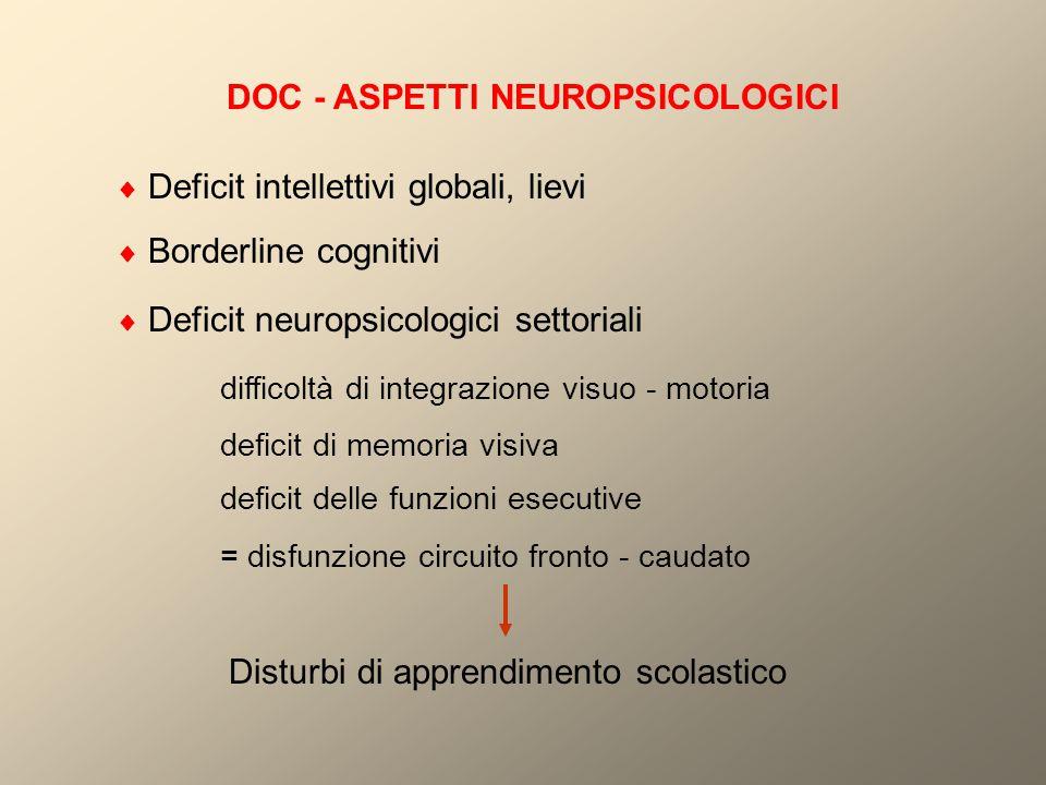 DOC - ASPETTI NEUROPSICOLOGICI  Deficit intellettivi globali, lievi  Borderline cognitivi  Deficit neuropsicologici settoriali difficoltà di integr