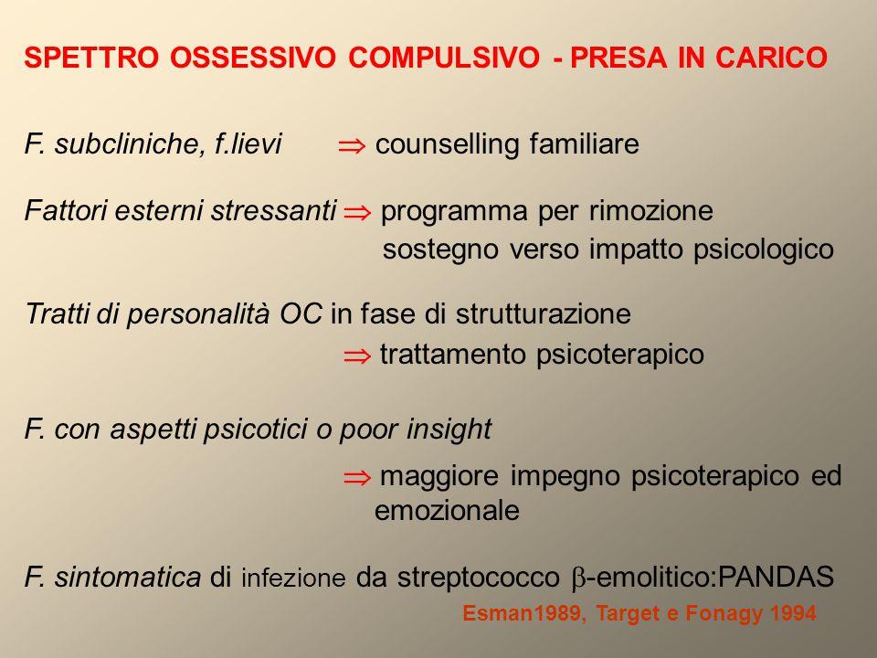 SPETTRO OSSESSIVO COMPULSIVO - PRESA IN CARICO F. subcliniche, f.lievi  counselling familiare Fattori esterni stressanti  programma per rimozione so