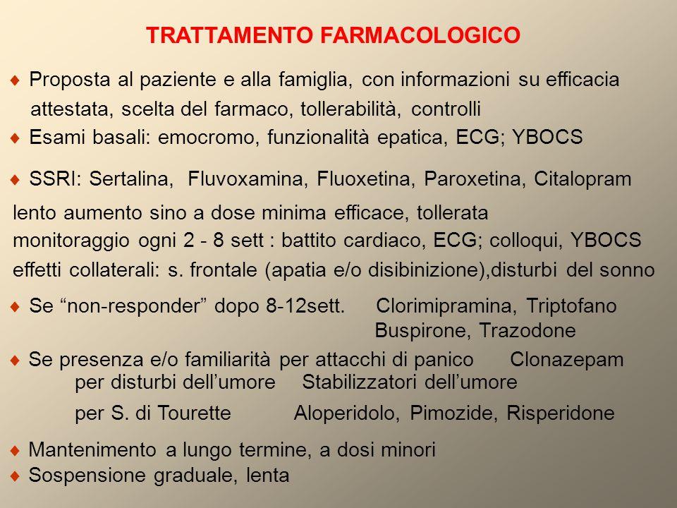 TRATTAMENTO FARMACOLOGICO  Proposta al paziente e alla famiglia, con informazioni su efficacia attestata, scelta del farmaco, tollerabilità, controll