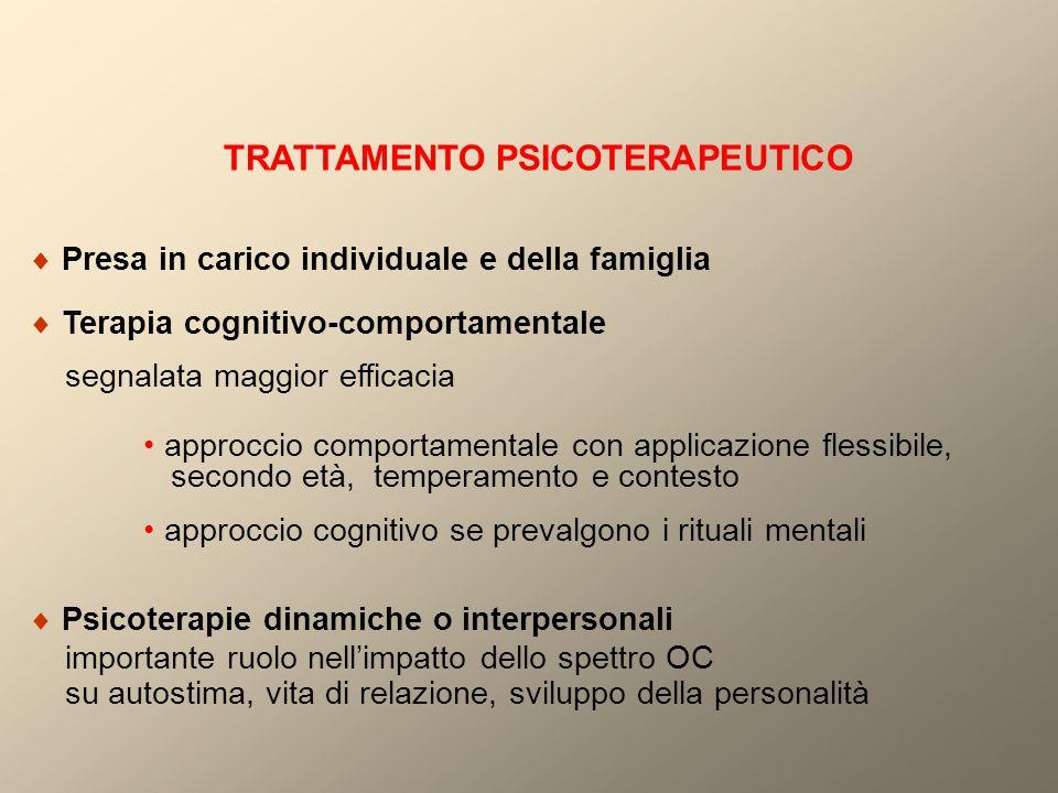 TRATTAMENTO PSICOTERAPEUTICO  Presa in carico individuale e della famiglia  Terapia cognitivo-comportamentale segnalata maggior efficacia approccio