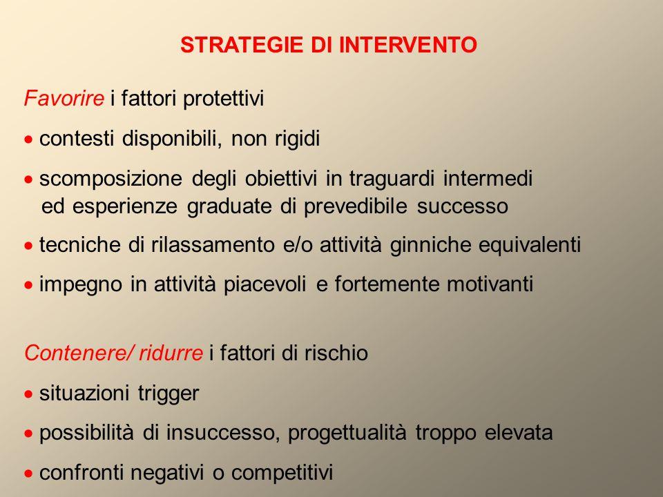 STRATEGIE DI INTERVENTO Favorire i fattori protettivi  contesti disponibili, non rigidi  scomposizione degli obiettivi in traguardi intermedi ed esp