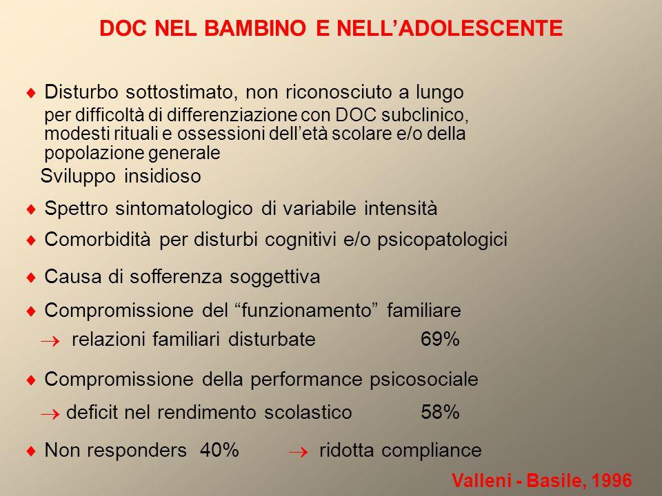 DOC NEL BAMBINO E NELL'ADOLESCENTE  Disturbo sottostimato, non riconosciuto a lungo per difficoltà di differenziazione con DOC subclinico, modesti ri