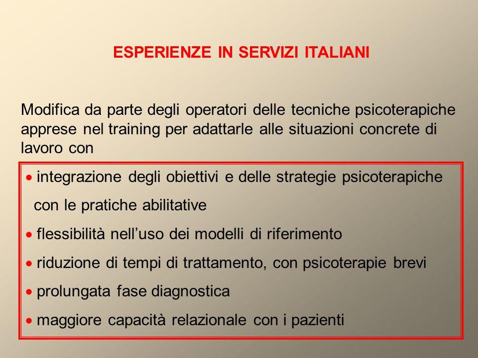 ESPERIENZE IN SERVIZI ITALIANI Modifica da parte degli operatori delle tecniche psicoterapiche apprese nel training per adattarle alle situazioni conc