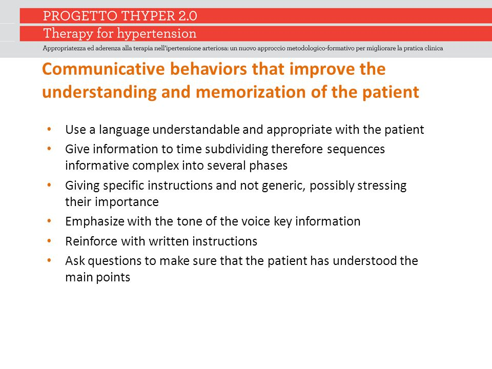 Communicative behaviors that improve the understanding and memorization of the patient Use a language understandable and appropriate with the patient