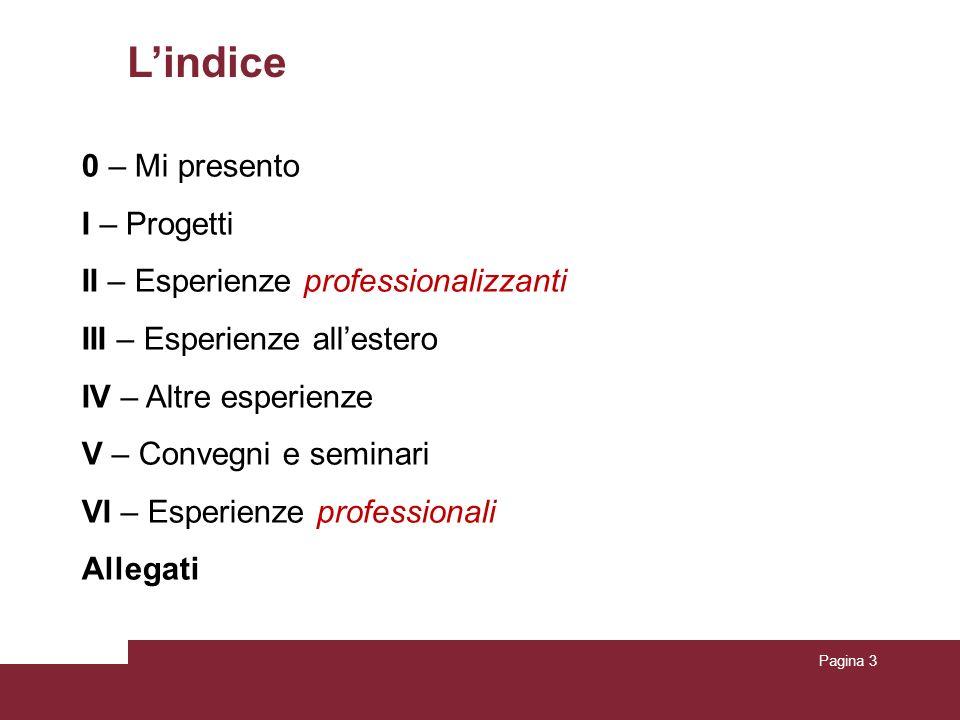 Pagina 3 L'indice 0 – Mi presento I – Progetti II – Esperienze professionalizzanti III – Esperienze all'estero IV – Altre esperienze V – Convegni e se