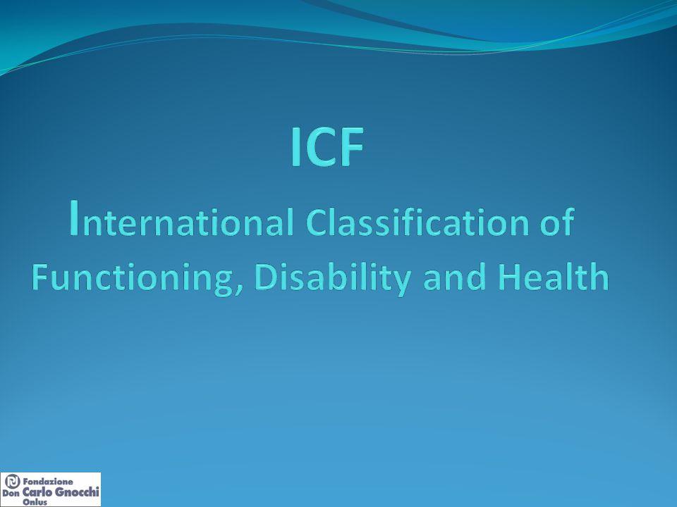 I domini dell'ICF Condizione fisiche Funzioni e Strutture corporee Attività personale Fattori contestuali Fattori ambientale Fattori personale (non classificati nell'ICF) Partecipazione sociale