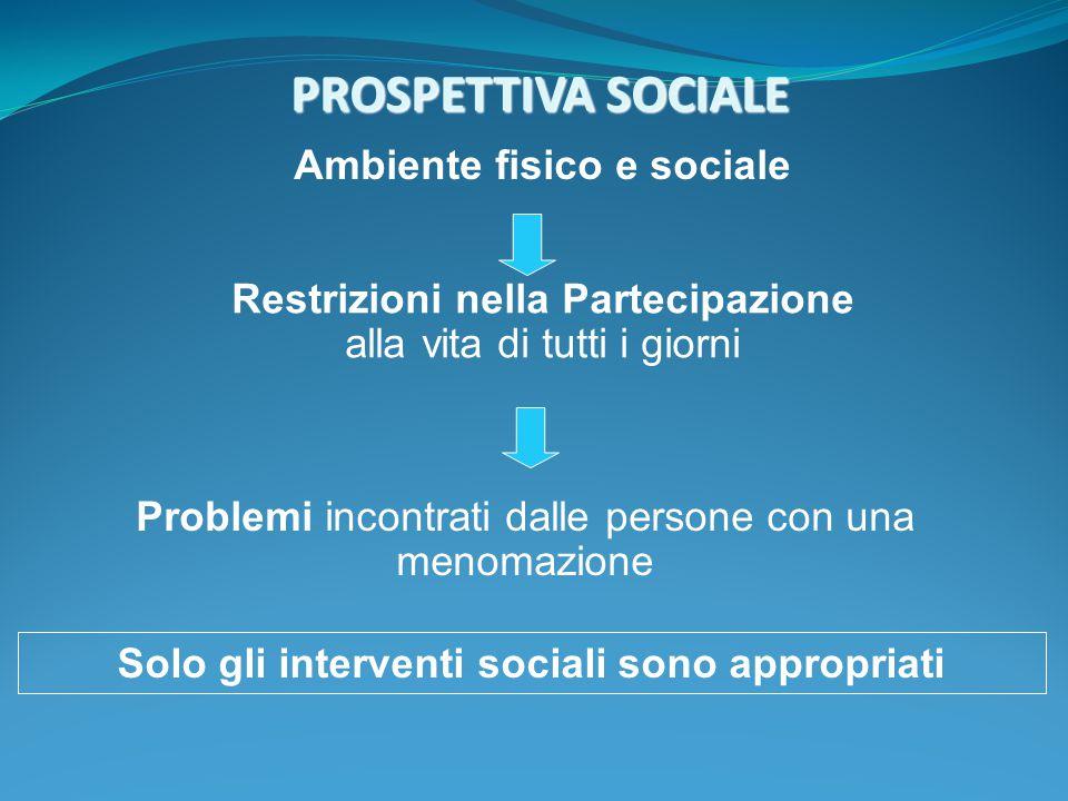 PROSPETTIVA SOCIALE PROSPETTIVA SOCIALE Ambiente fisico e sociale Restrizioni nella Partecipazione alla vita di tutti i giorni Problemi incontrati dal