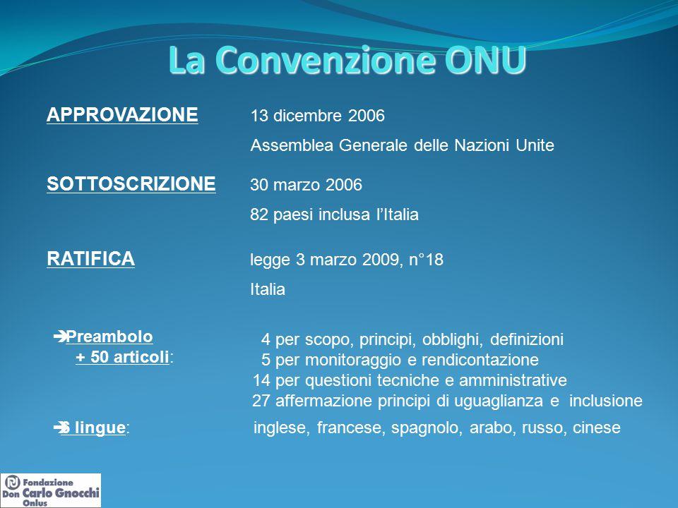 La Convenzione ONU APPROVAZIONE 13 dicembre 2006 Assemblea Generale delle Nazioni Unite SOTTOSCRIZIONE 30 marzo 2006 82 paesi inclusa l'Italia RATIFIC