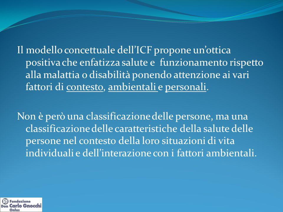 Il modello concettuale dell'ICF propone un'ottica positiva che enfatizza salute e funzionamento rispetto alla malattia o disabilità ponendo attenzione