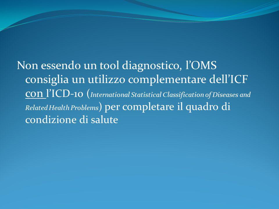 Non essendo un tool diagnostico, l'OMS consiglia un utilizzo complementare dell'ICF con l'ICD-10 ( International Statistical Classification of Disease