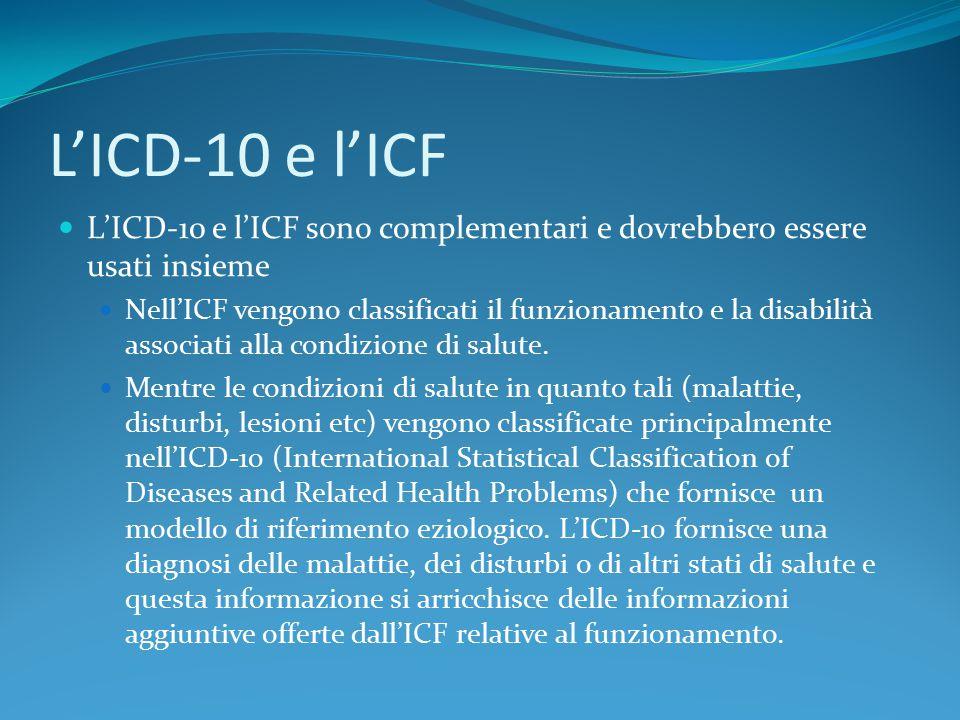 L'ICD-10 e l'ICF L'ICD-10 e l'ICF sono complementari e dovrebbero essere usati insieme Nell'ICF vengono classificati il funzionamento e la disabilità