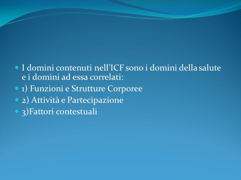 I domini contenuti nell'ICF sono i domini della salute e i domini ad essa correlati: 1) Funzioni e Strutture Corporee 2) Attività e Partecipazione 3)F