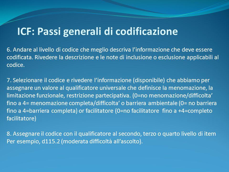 ICF: Passi generali di codificazione 6. Andare al livello di codice che meglio descriva l'informazione che deve essere codificata. Rivedere la descriz