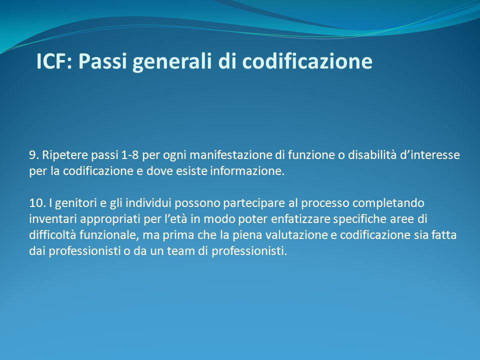 ICF: Passi generali di codificazione 9. Ripetere passi 1-8 per ogni manifestazione di funzione o disabilità d'interesse per la codificazione e dove es