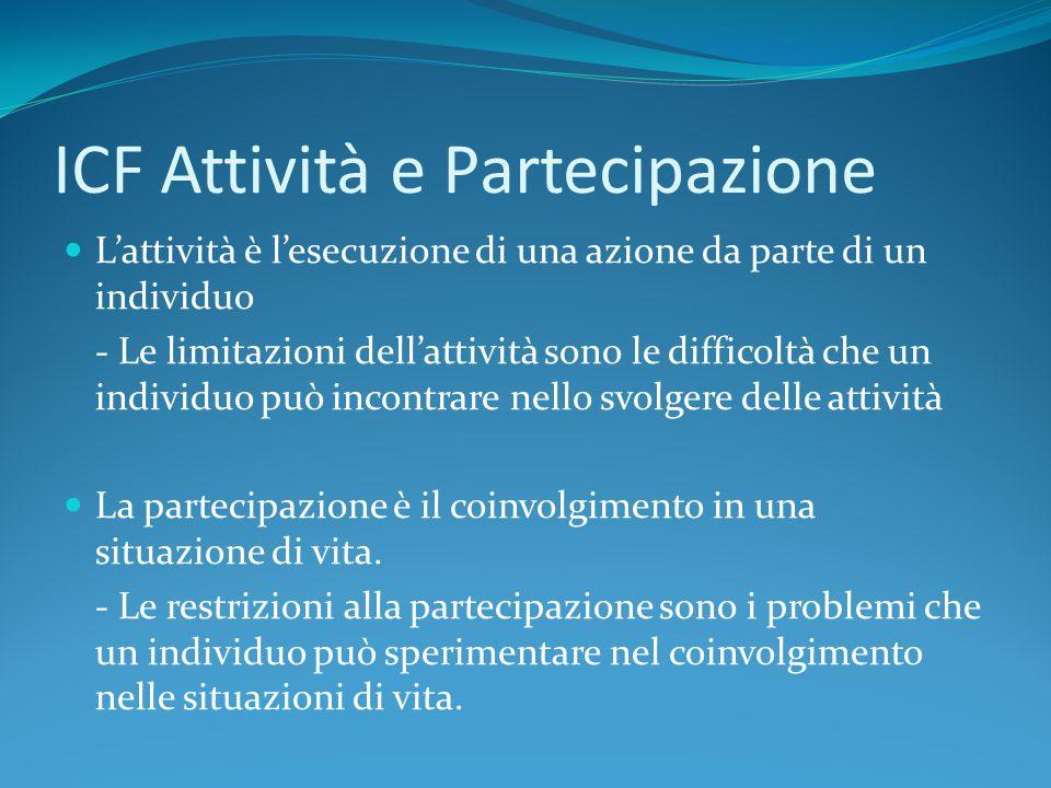 ICF Attività e Partecipazione L'attività è l'esecuzione di una azione da parte di un individuo - Le limitazioni dell'attività sono le difficoltà che u