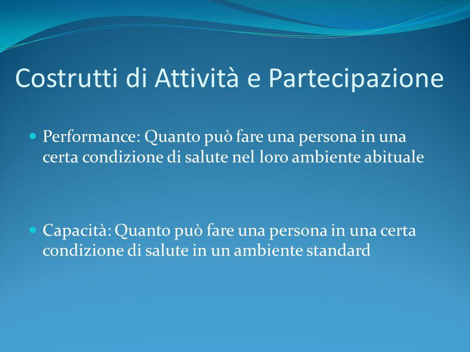 Costrutti di Attività e Partecipazione Performance: Quanto può fare una persona in una certa condizione di salute nel loro ambiente abituale Capacità: