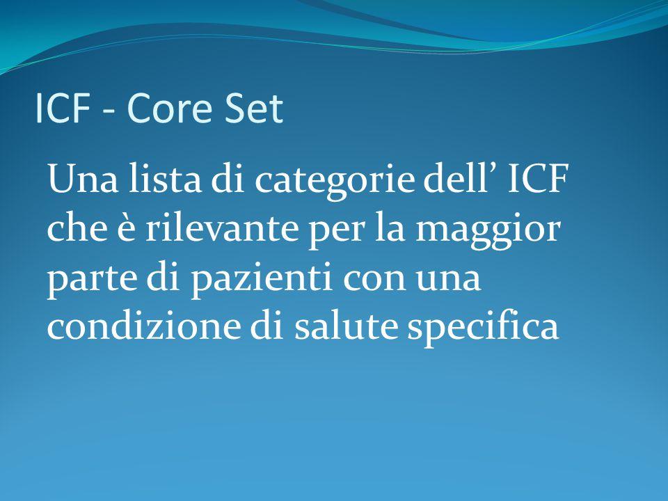Una lista di categorie dell' ICF che è rilevante per la maggior parte di pazienti con una condizione di salute specifica ICF - Core Set