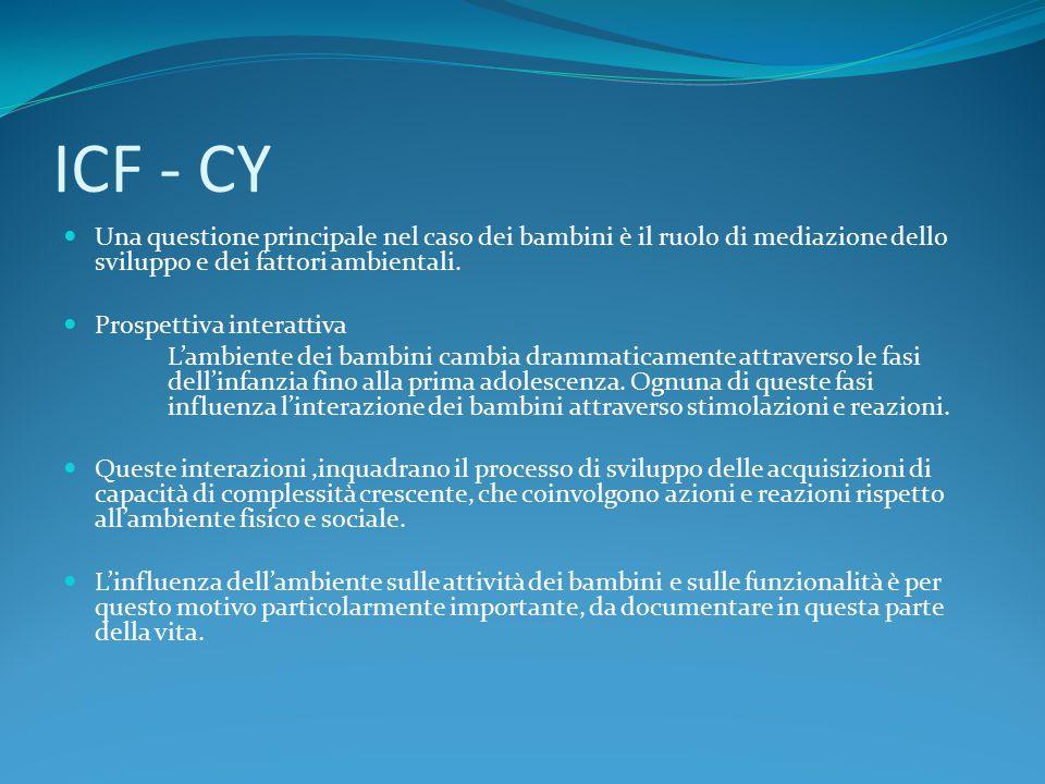 ICF - CY Una questione principale nel caso dei bambini è il ruolo di mediazione dello sviluppo e dei fattori ambientali. Prospettiva interattiva L'amb