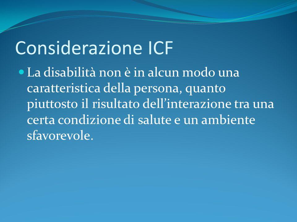 Considerazione ICF La disabilità non è in alcun modo una caratteristica della persona, quanto piuttosto il risultato dell'interazione tra una certa co