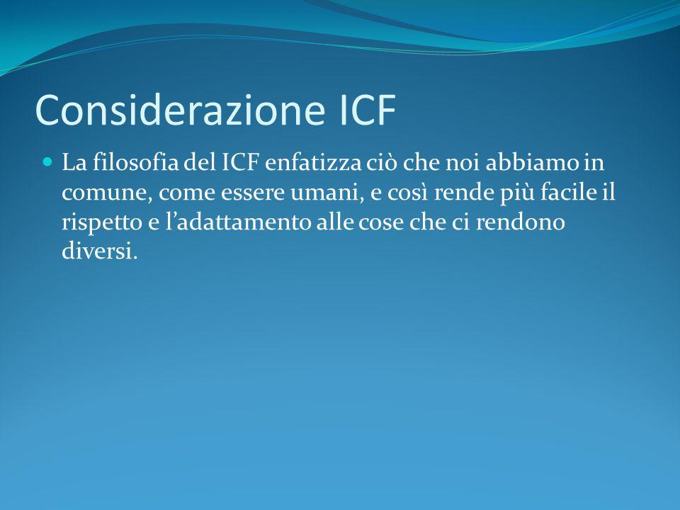 Considerazione ICF La filosofia del ICF enfatizza ciò che noi abbiamo in comune, come essere umani, e così rende più facile il rispetto e l'adattament
