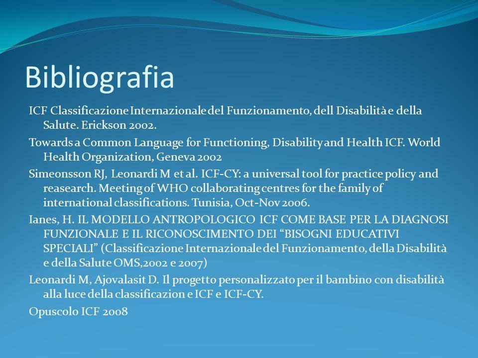 Bibliografia ICF Classificazione Internazionale del Funzionamento, dell Disabilità e della Salute. Erickson 2002. Towards a Common Language for Functi