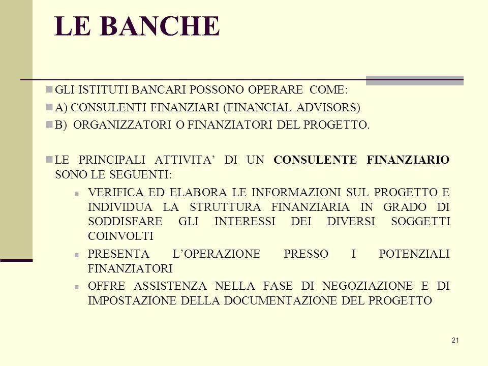 21 LE BANCHE GLI ISTITUTI BANCARI POSSONO OPERARE COME: A) CONSULENTI FINANZIARI (FINANCIAL ADVISORS) B) ORGANIZZATORI O FINANZIATORI DEL PROGETTO. LE
