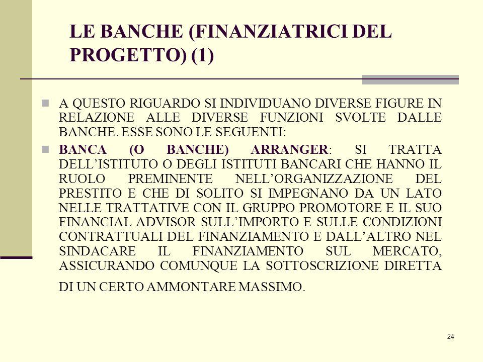 24 LE BANCHE (FINANZIATRICI DEL PROGETTO) (1) A QUESTO RIGUARDO SI INDIVIDUANO DIVERSE FIGURE IN RELAZIONE ALLE DIVERSE FUNZIONI SVOLTE DALLE BANCHE.