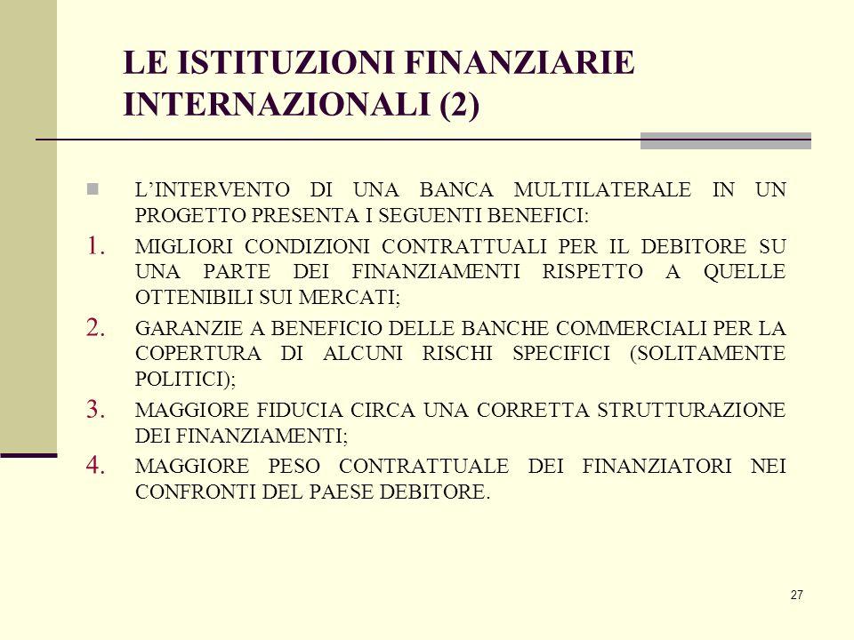 27 LE ISTITUZIONI FINANZIARIE INTERNAZIONALI (2) L'INTERVENTO DI UNA BANCA MULTILATERALE IN UN PROGETTO PRESENTA I SEGUENTI BENEFICI: 1. MIGLIORI COND