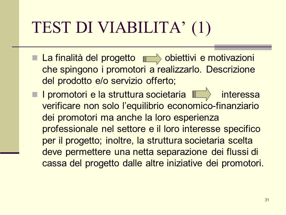 31 TEST DI VIABILITA' (1) La finalità del progetto obiettivi e motivazioni che spingono i promotori a realizzarlo. Descrizione del prodotto e/o serviz