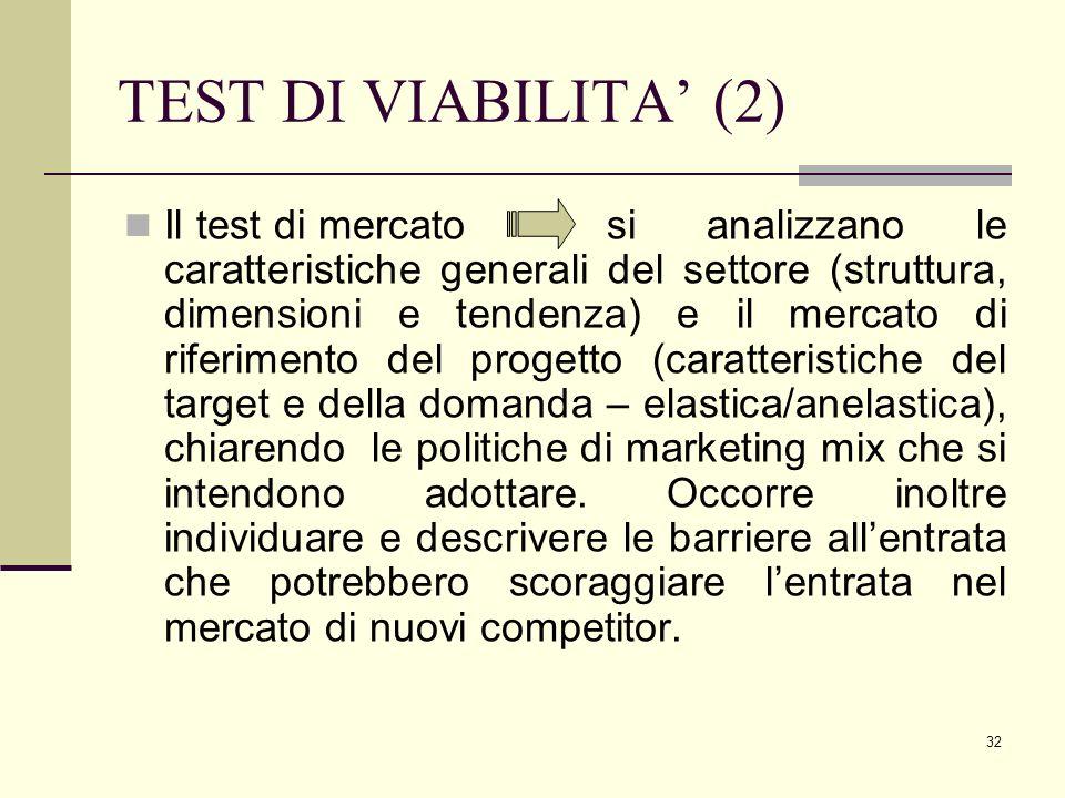 32 TEST DI VIABILITA' (2) Il test di mercato si analizzano le caratteristiche generali del settore (struttura, dimensioni e tendenza) e il mercato di