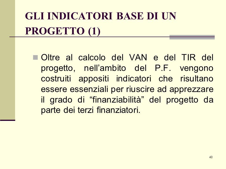 40 GLI INDICATORI BASE DI UN PROGETTO (1) Oltre al calcolo del VAN e del TIR del progetto, nell'ambito del P.F. vengono costruiti appositi indicatori