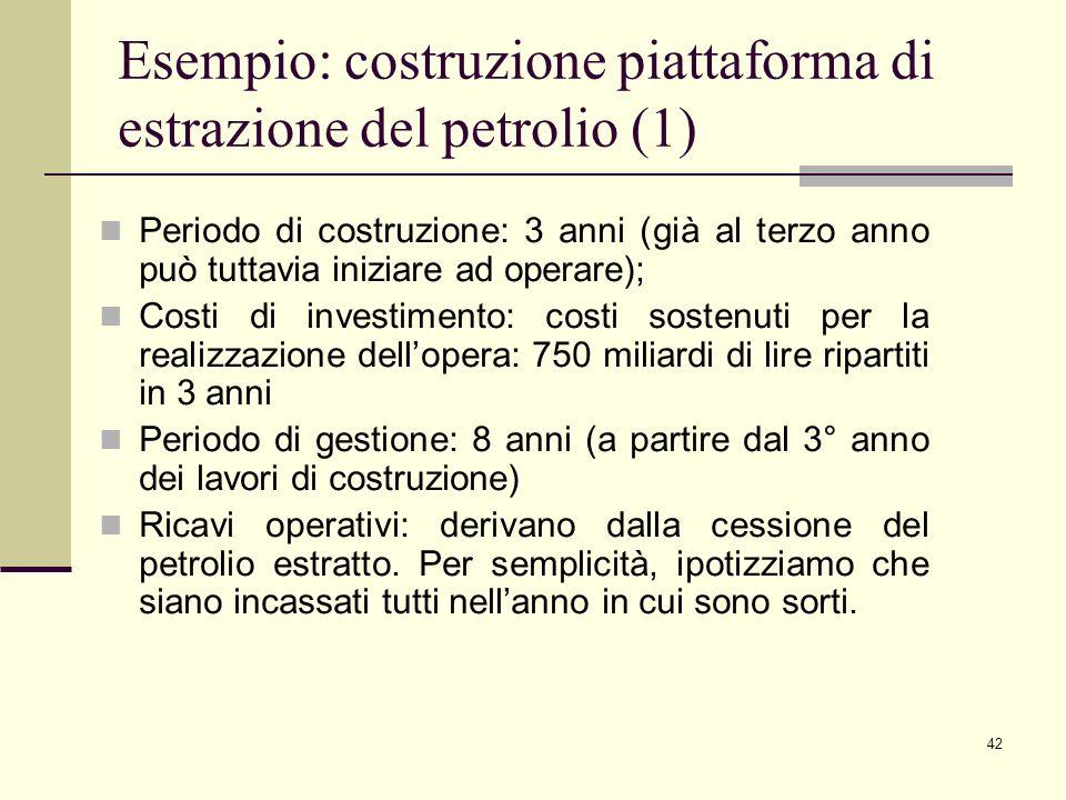 42 Esempio: costruzione piattaforma di estrazione del petrolio (1) Periodo di costruzione: 3 anni (già al terzo anno può tuttavia iniziare ad operare)