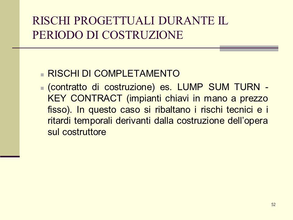52 RISCHI PROGETTUALI DURANTE IL PERIODO DI COSTRUZIONE RISCHI DI COMPLETAMENTO (contratto di costruzione) es. LUMP SUM TURN - KEY CONTRACT (impianti