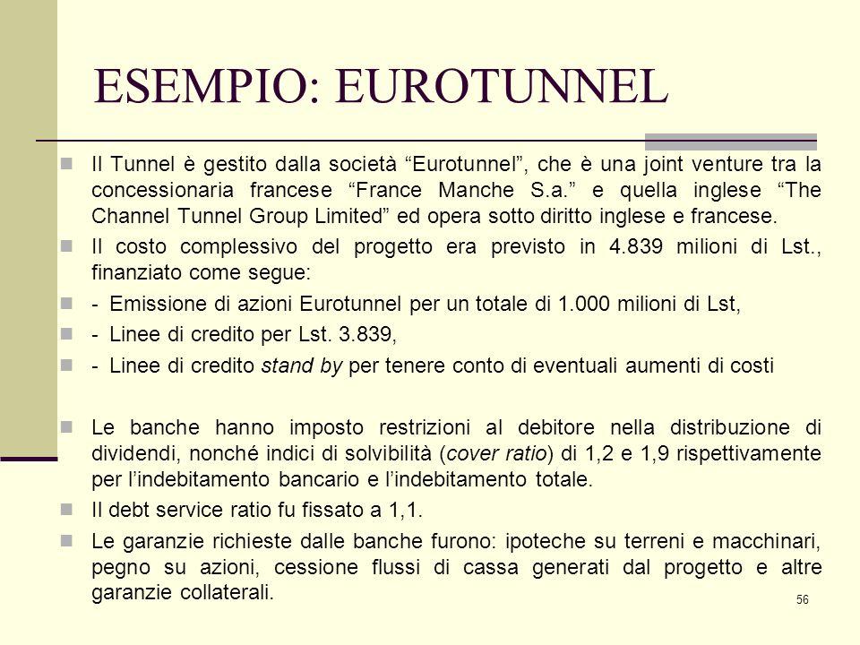 """56 ESEMPIO: EUROTUNNEL Il Tunnel è gestito dalla società """"Eurotunnel"""", che è una joint venture tra la concessionaria francese """"France Manche S.a."""" e q"""